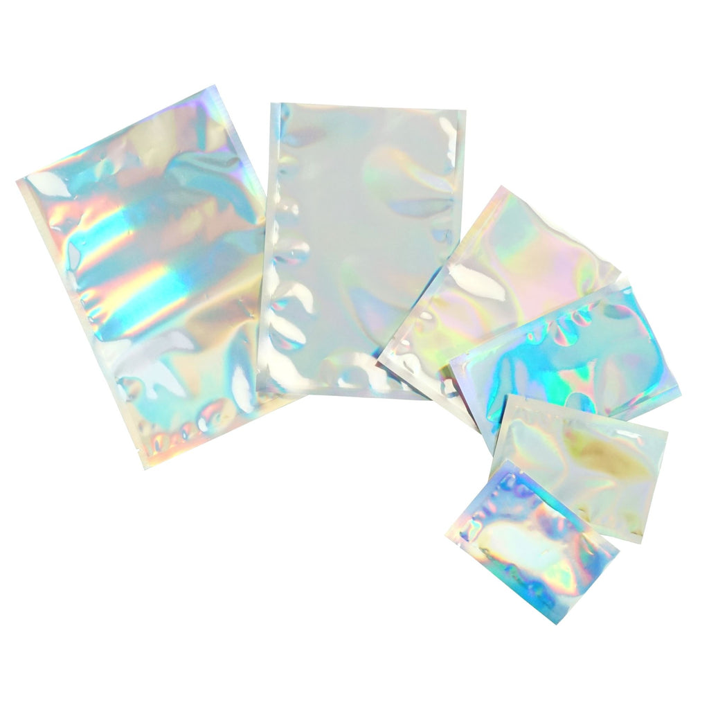 QQ Studio® Glossy Diamond Holographic Mylar Foil Open Fill SlickSeal™ Bags
