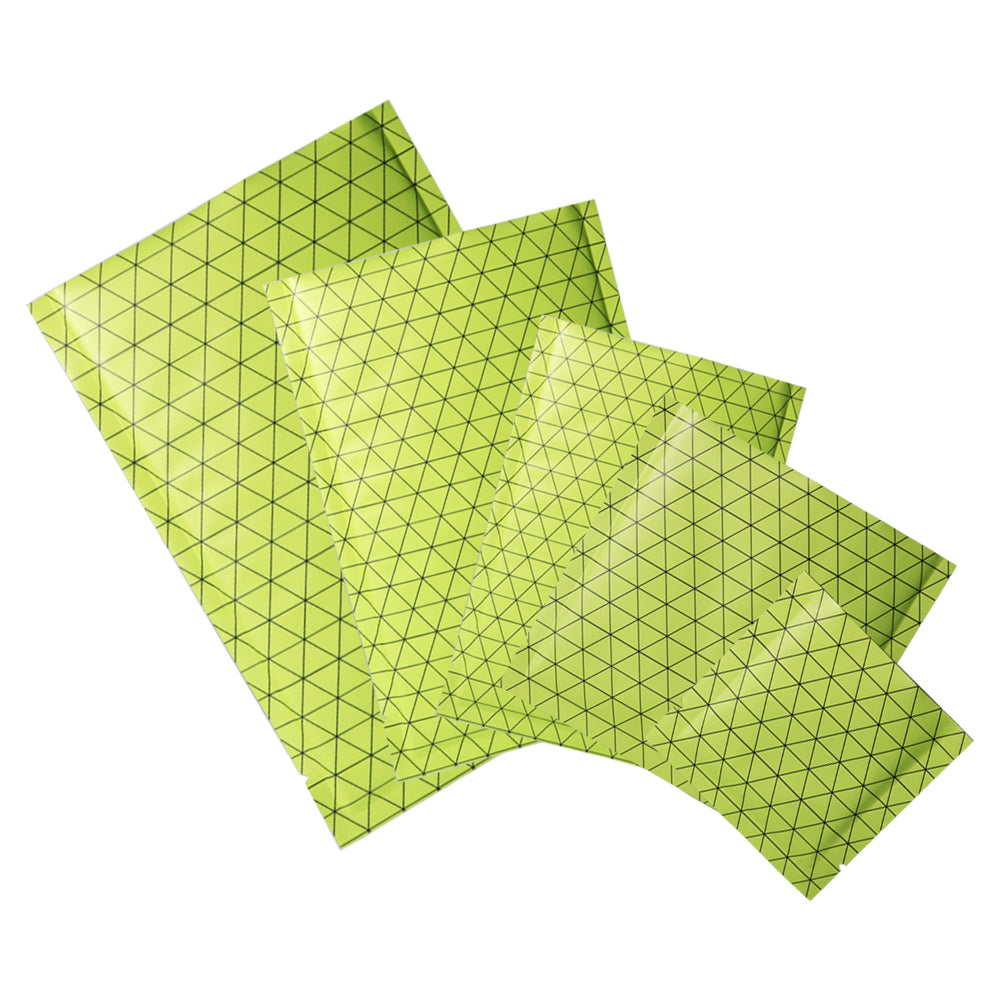 QQ Studio® Grid Green Prism Design Aluminum Foil Open Top Bags