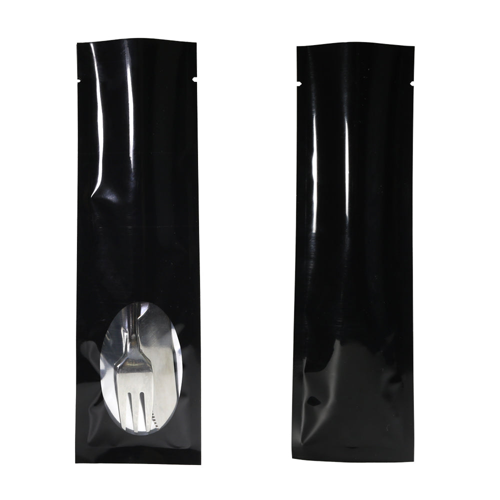 QQ Studio® Mirror Black Metallized Open Top Bags with a Clear Oval Transparent Window