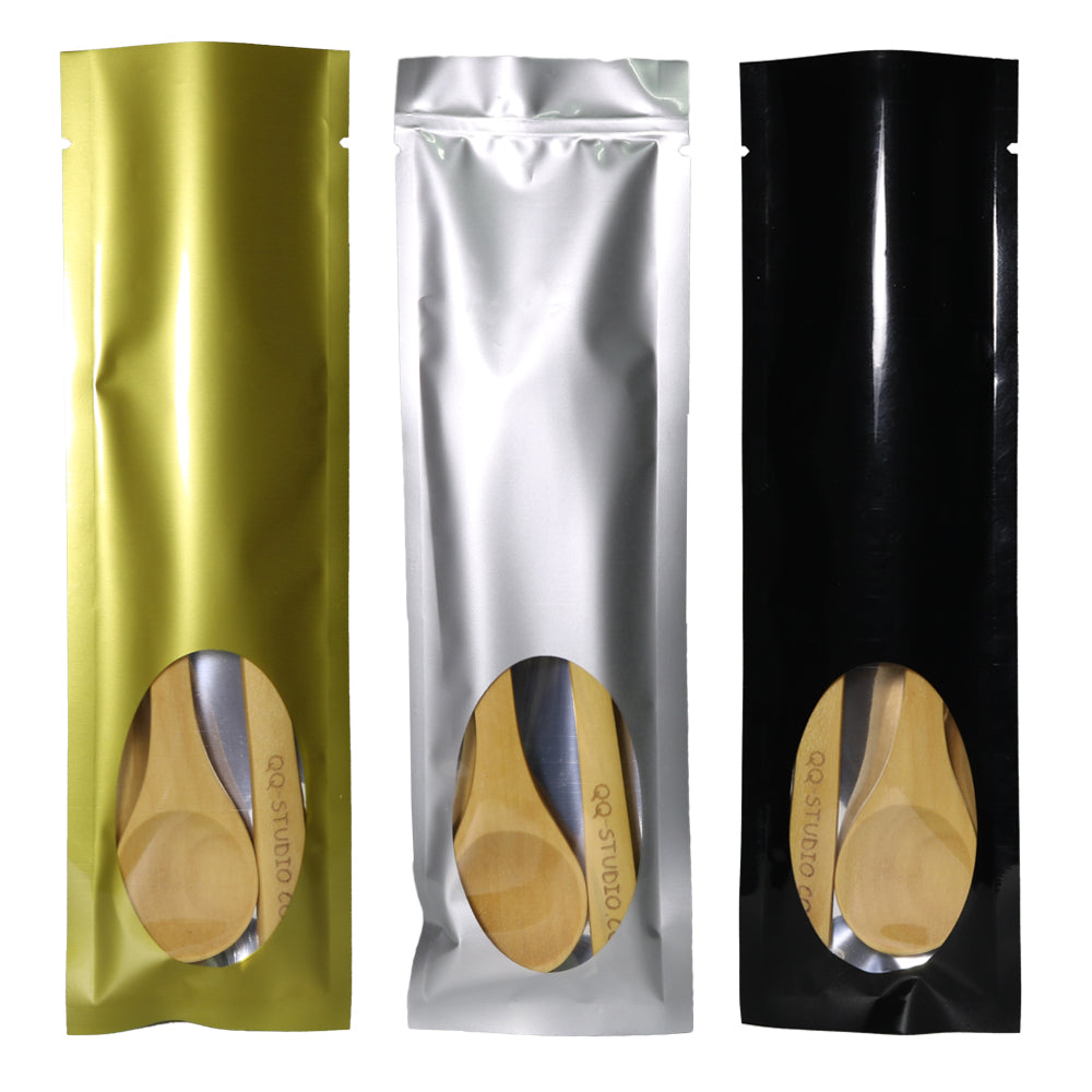 QQ Studio® Metallic Metallized Open Top Bags with an Oval Transparent Window