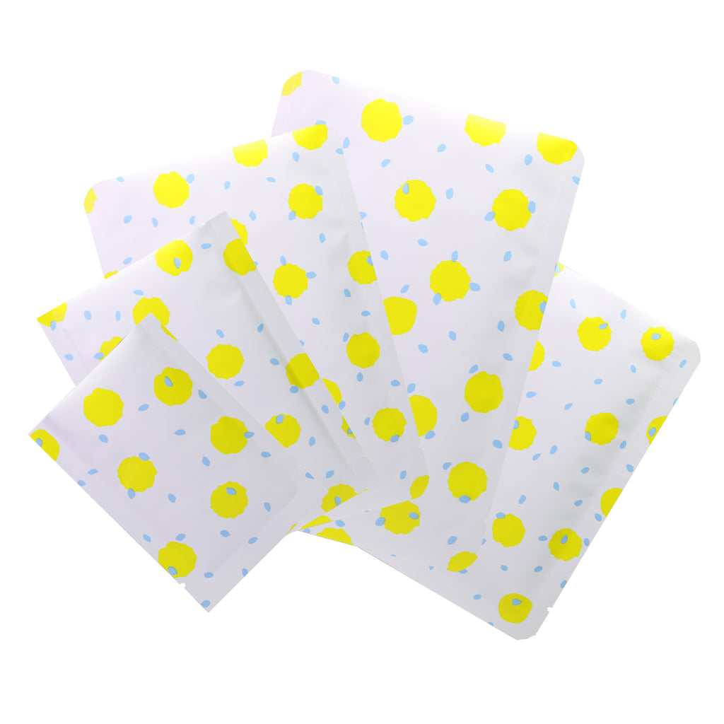 QQ Studio® White with Pineapple Yellow Polka Dot Aluminum Open Top Bags