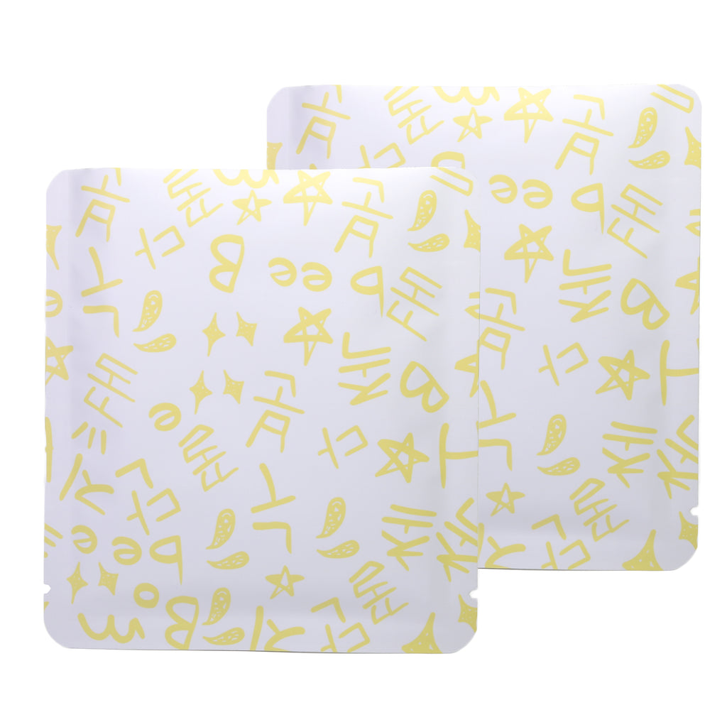 QQ Studio® Bumblebee Yellow Graffiti Letters Design Aluminum Open Top Bags