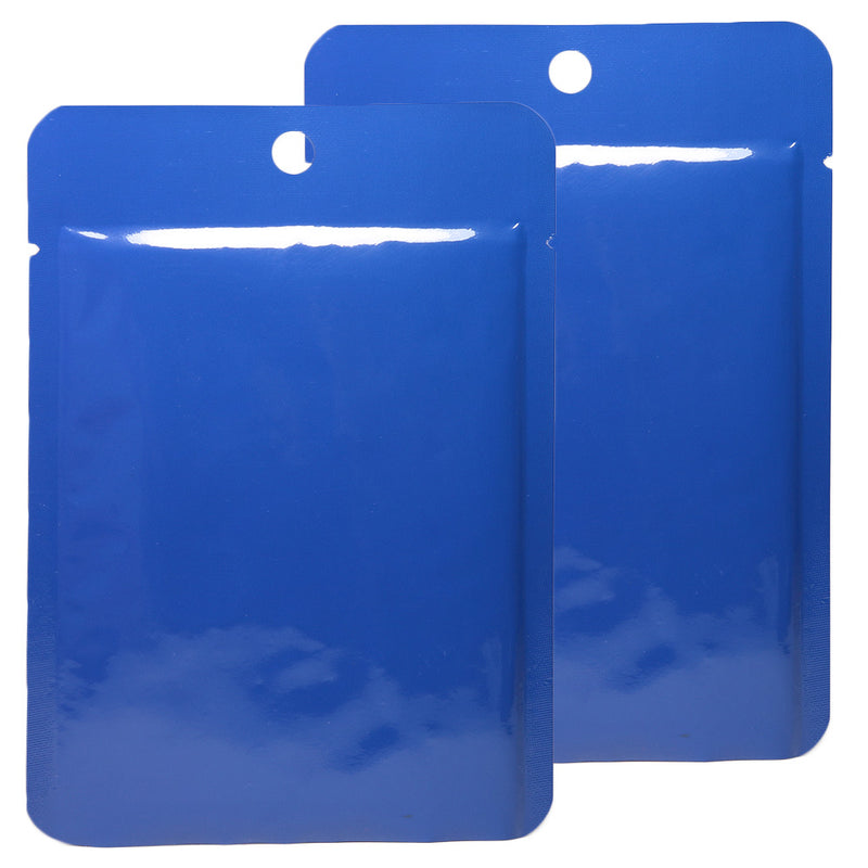 QQ Studio® Glossy Azure Blue Bottom Fill Aluminum Bags with Round Hang Hole
