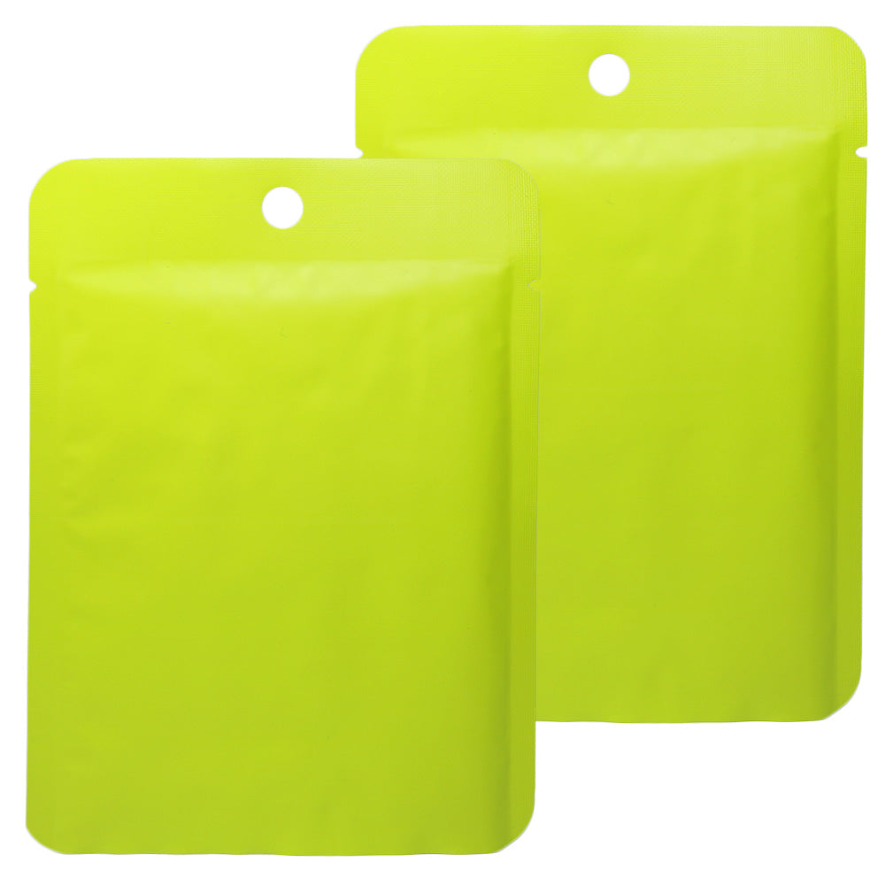 QQ Studio® Matte Lime Green Bottom Fill Aluminum Bags with Round Hang Hole