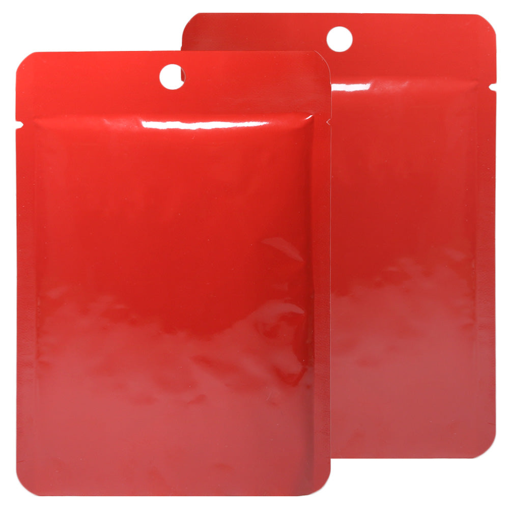 QQ Studio® Glossy Crimson Red Bottom Fill Aluminum Bags with Round Hang Hole