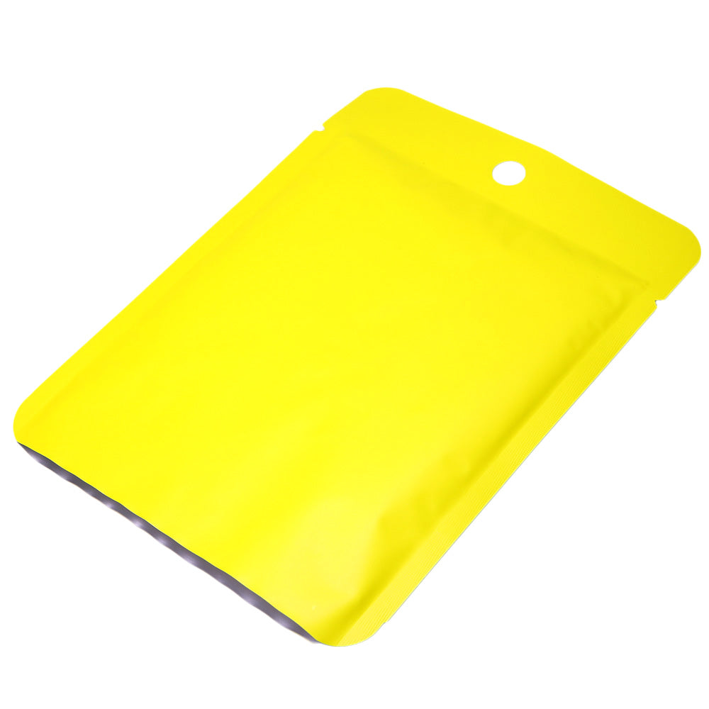 QQ Studio® Matte Citrus Yellow Bottom Fill Aluminum Bags with Round Hang Hole