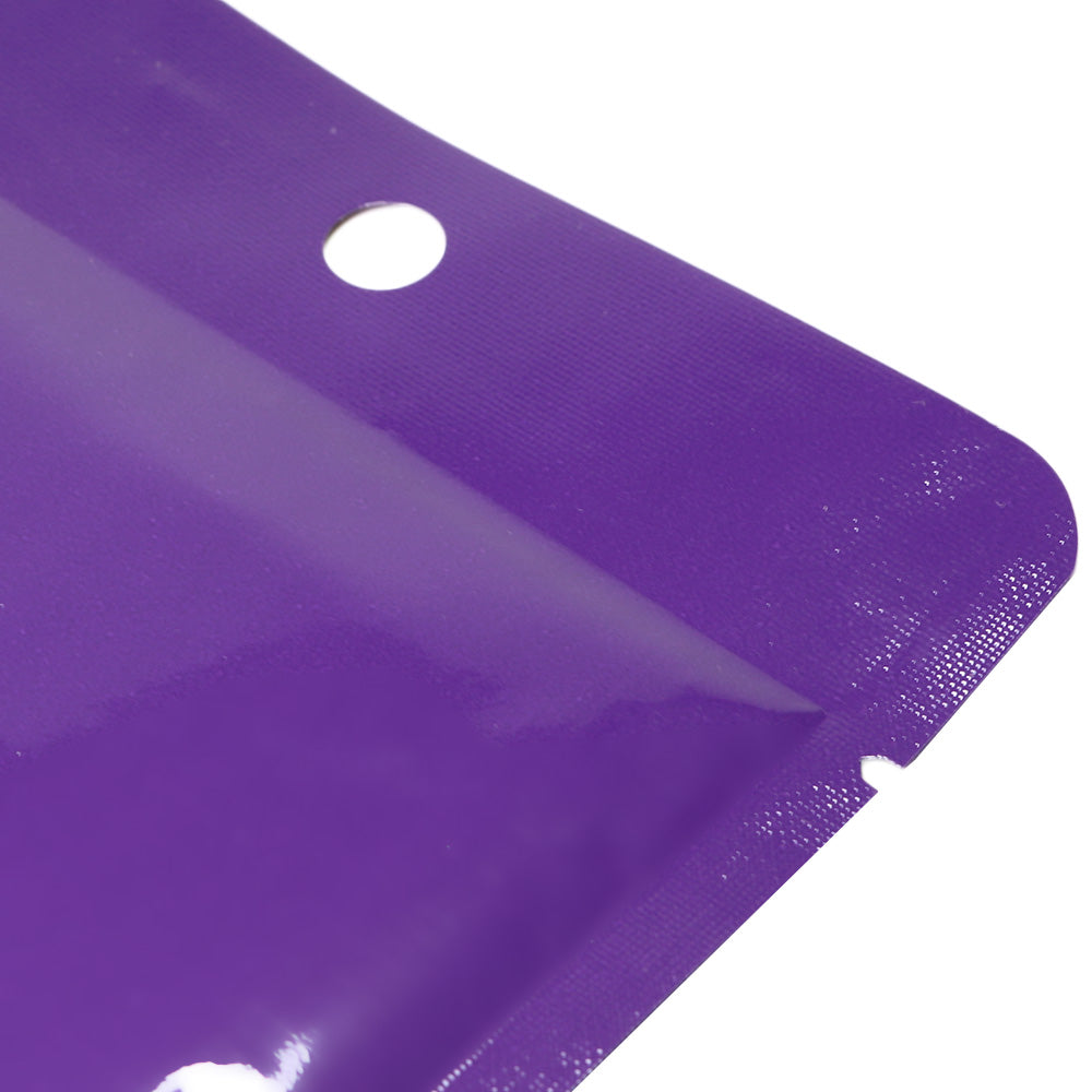 QQ Studio® Glossy Purple Prune Bottom Fill Aluminum Bags with Round Hang Hole