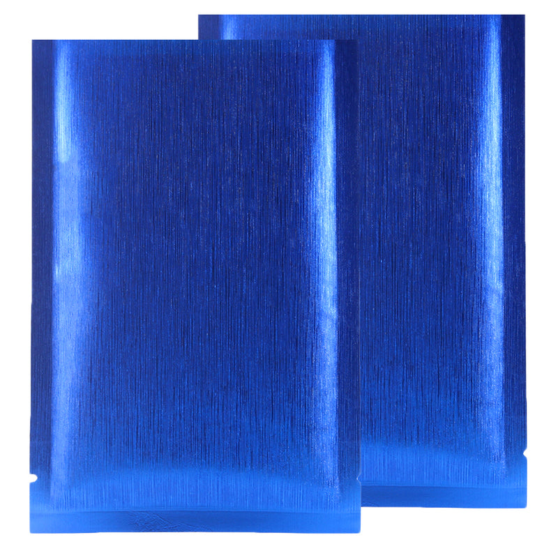 QQ Studio® Shimmery Brushed Metal Blue Metallized Foil Open Top Bags