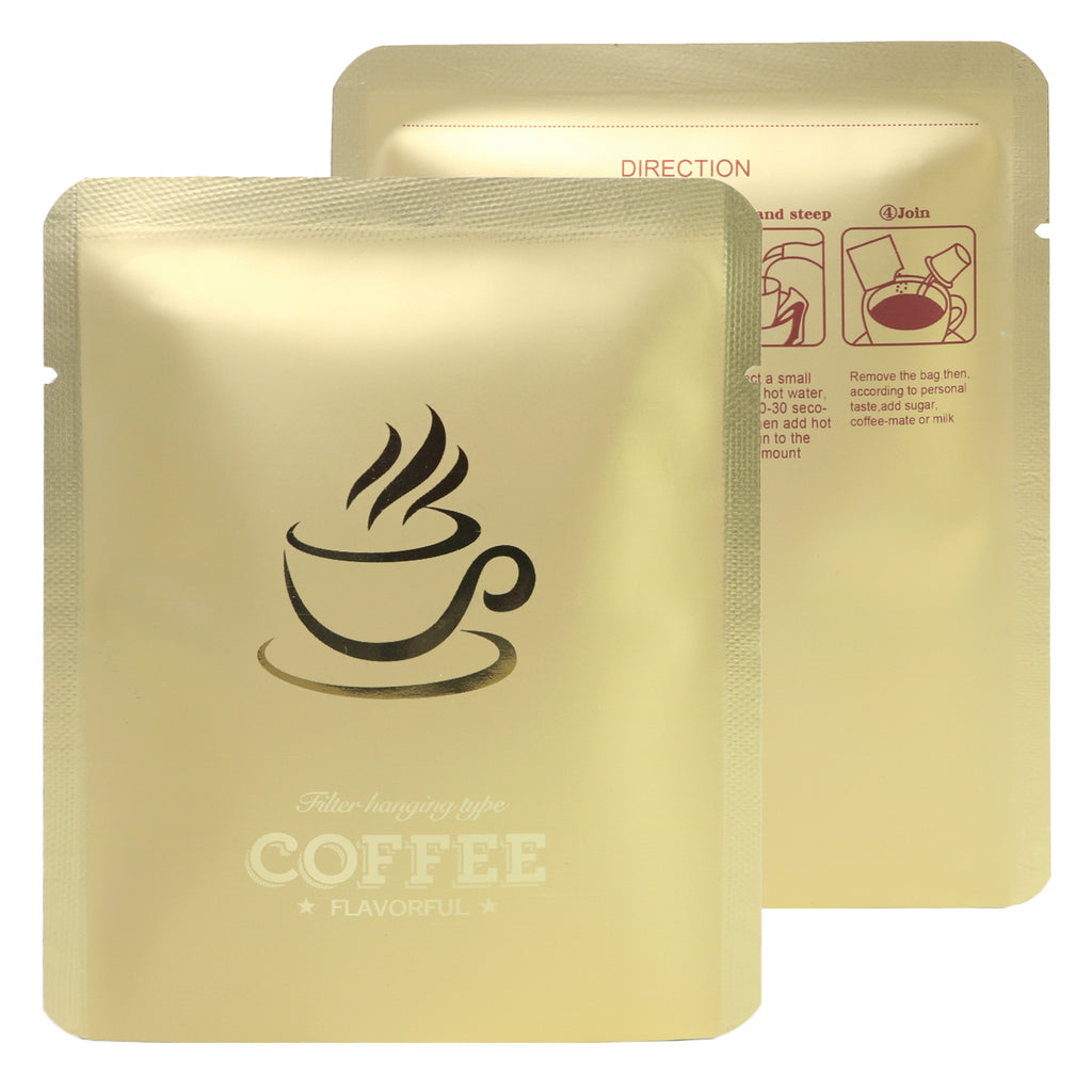 QQ Studio® Matte Blonde Roast Gold Aluminum Open Bottom Bag with Glossy Drip Coffee Design