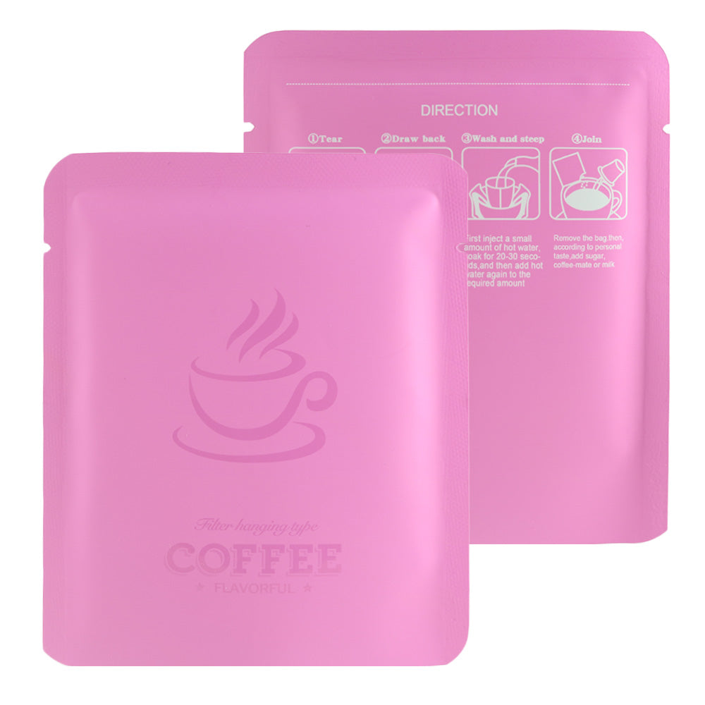QQ Studio® Matte Brewed Pink Aluminum Open Bottom Bag with Glossy Drip Coffee Design