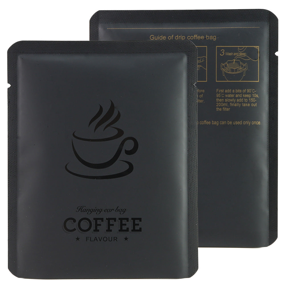QQ Studio® Matte Coffee Black Aluminum Open Bottom Bag with Glossy Drip Coffee Design