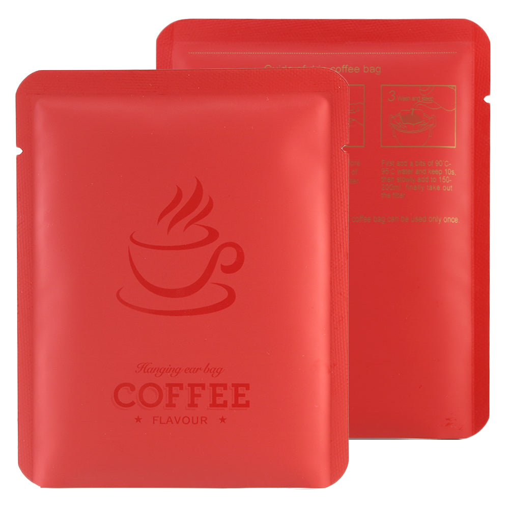QQ Studio® Matte Coffee Bean Red Aluminum Open Bottom Bag with Glossy Drip Coffee Design