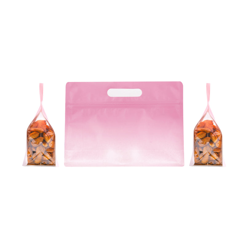 QQ Studio® Gradient Sherbet Pink Clear Side Gusset StandStrong™ Bags with Die-Cut Handle