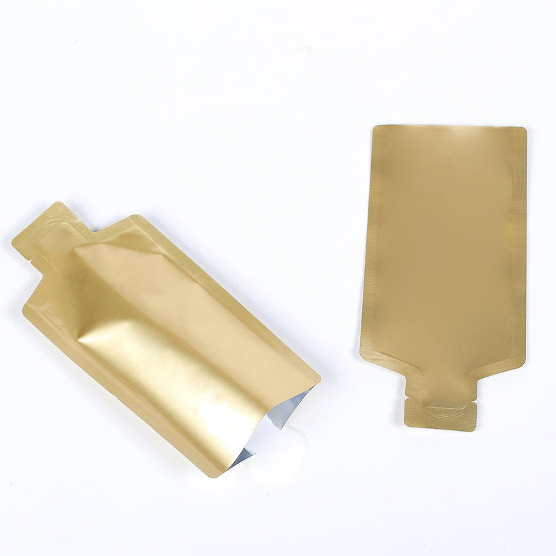 QQ Studio® Glossy Nectar Gold Aluminum Bottle Shape Open Bottom Bags