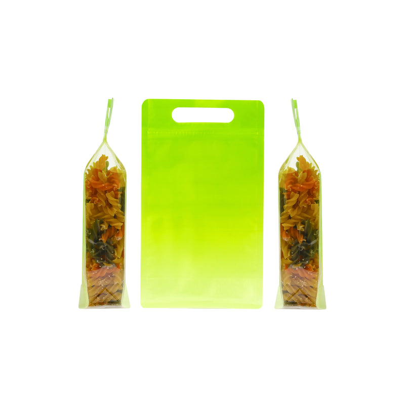 QQ Studio® Gradient Avocado Green Clear Side Gusset StandStrong™ Bags with Die-Cut Handle