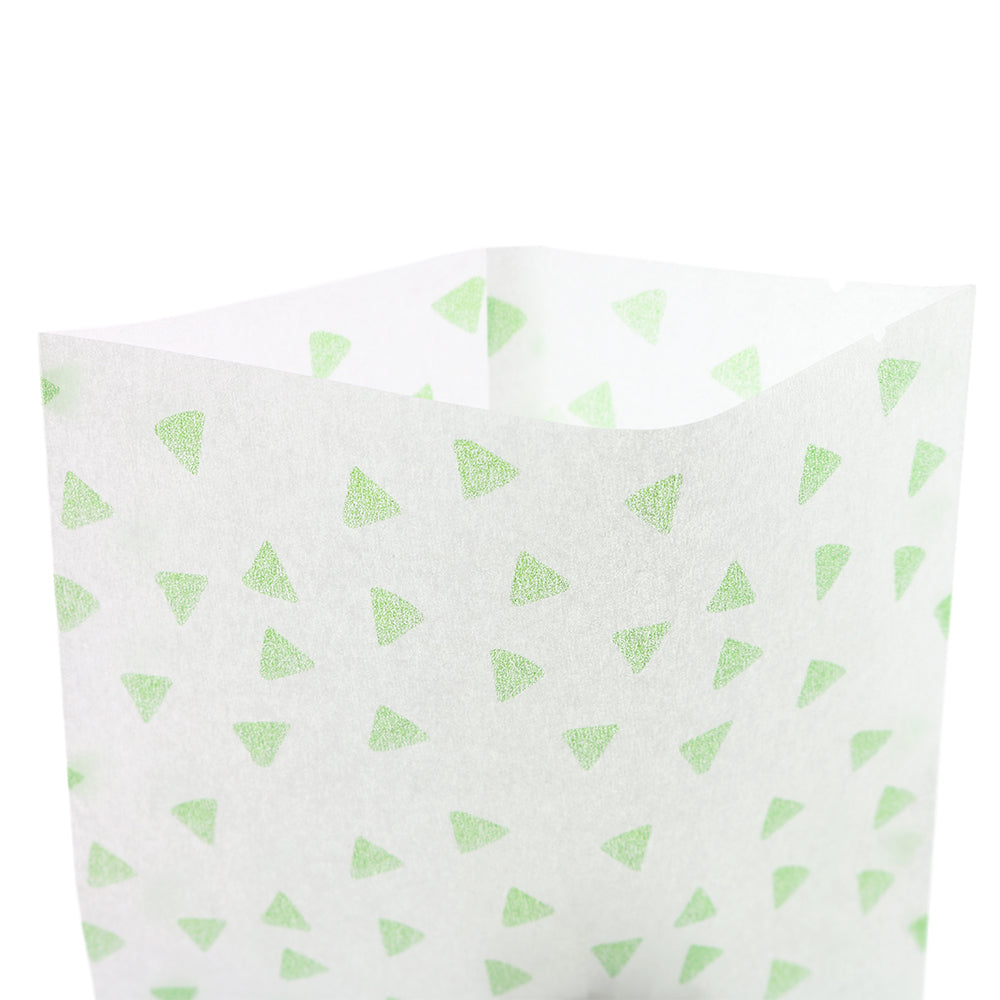 QQ Studio® Mint Chip Green Printed Diamond Design Rice Paper Open Top Bags