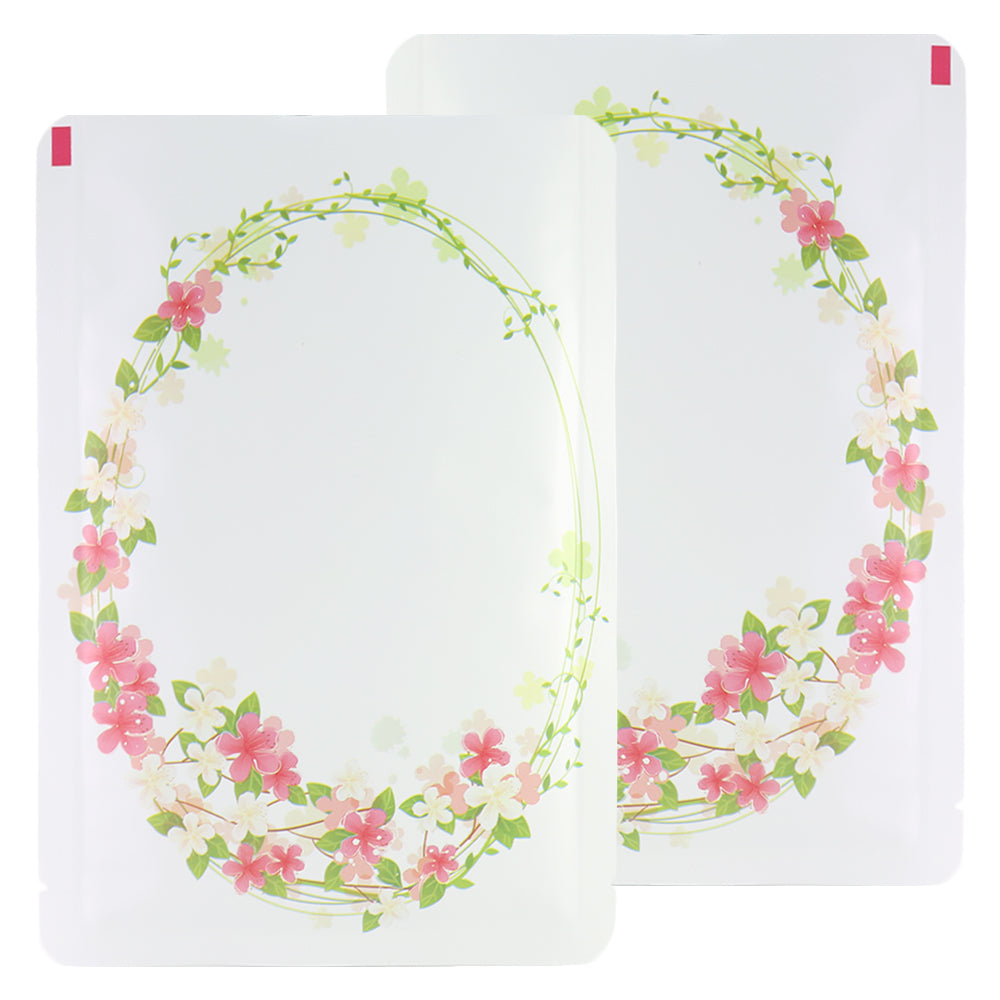 QQ Studio® Wreath White Matte Flower Design Open Bottom Bags