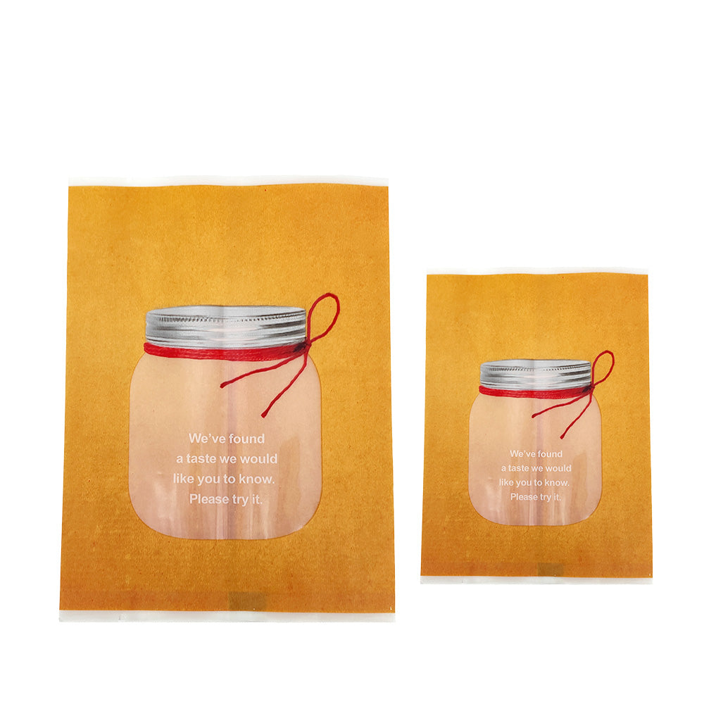 QQ Studio® Honey Brown with Clear Window Jar Design Open Top Bags