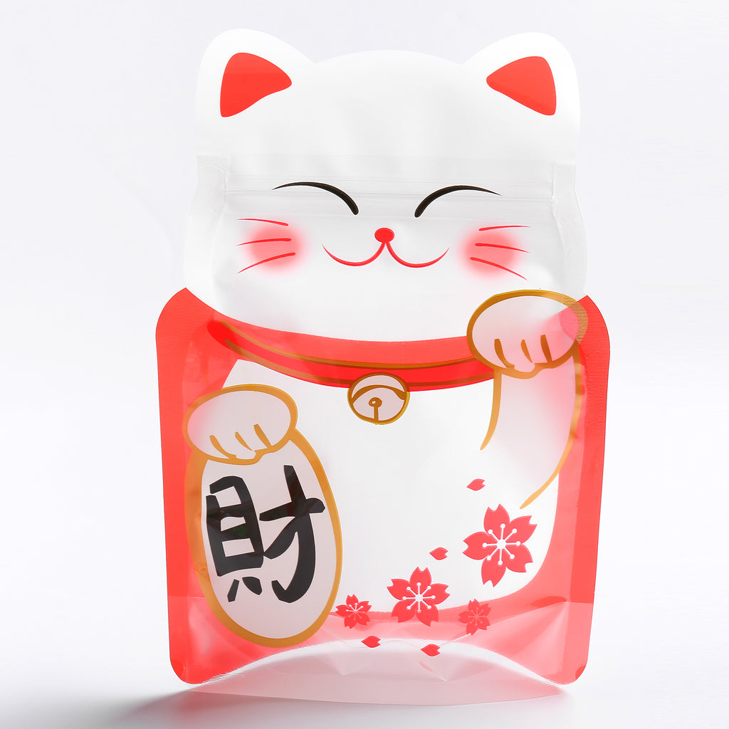 QQ Studio® Lucky Cat Red Stand QuickQlick™ Bags with Animal Print Window