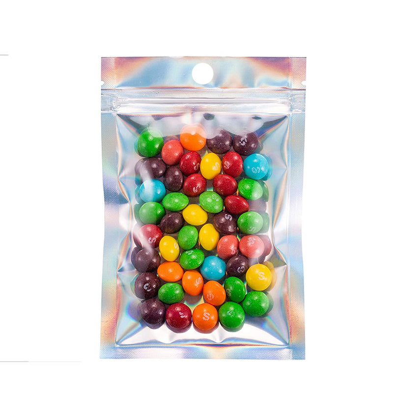 QQ Studio® Clear and Half Diamond Holographic Mylar Flat QuickQlick™ Bags with Round Hang Hole