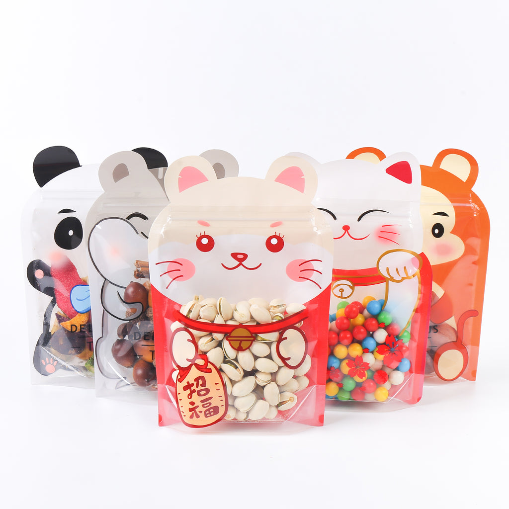 QQ Studio® Animal Shaped QuickQlick™ Stand Up Packaging Bags with Animal Print Window