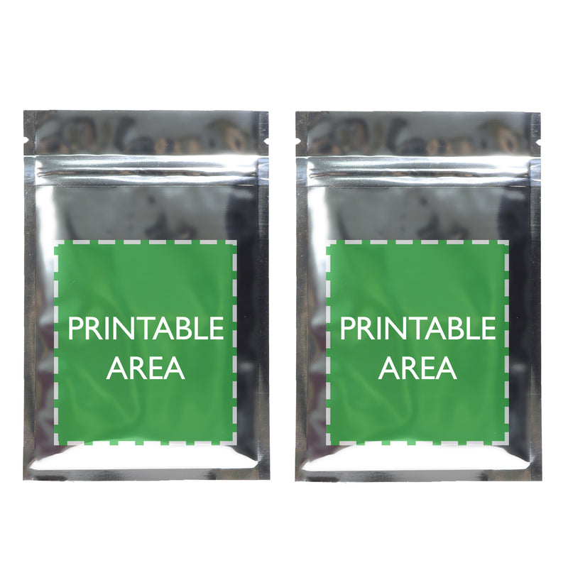 Glossy Double Sided Metallic Mylar Flat Zipper Lock Bags (Double Sided Print)