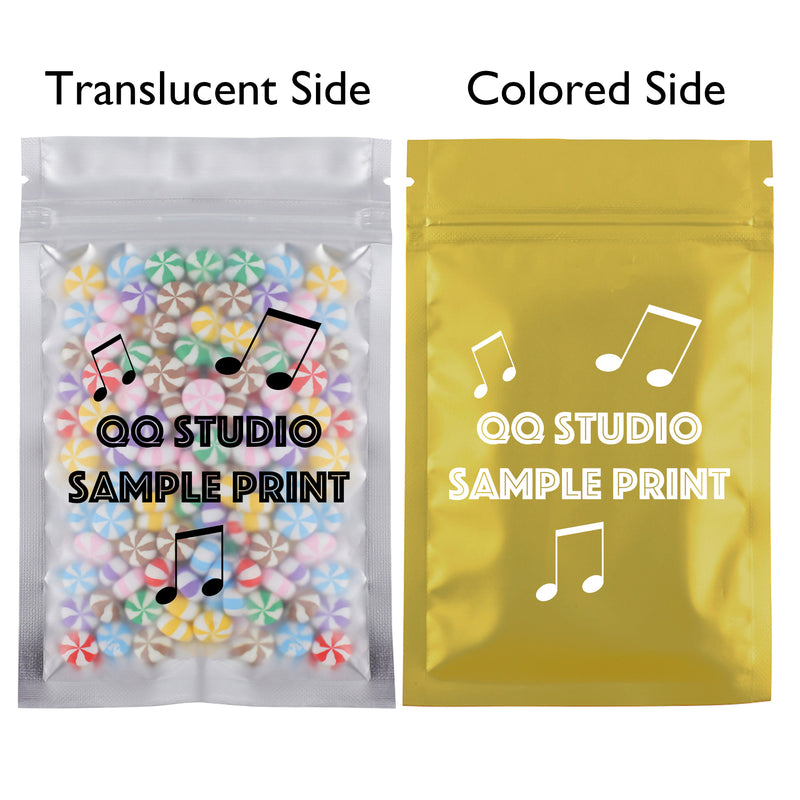 QQ Studio® Single Side Matte Color Metallic Mylar Flat QuickQlick™ Bags (Single Side Print)