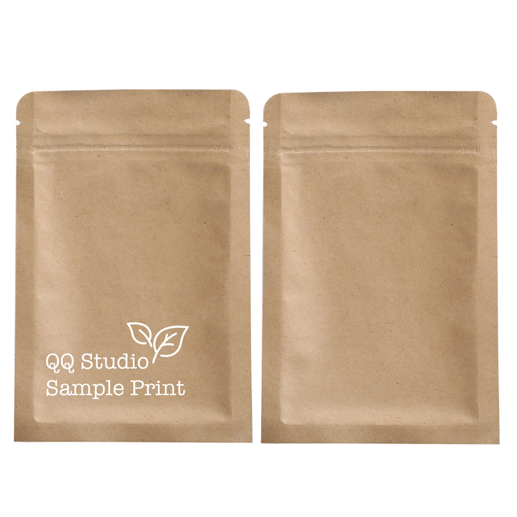 QQ Studio® Vintage Brown Double Sided Kraft Flat QuickQlick™ Bags (Single Side Print)