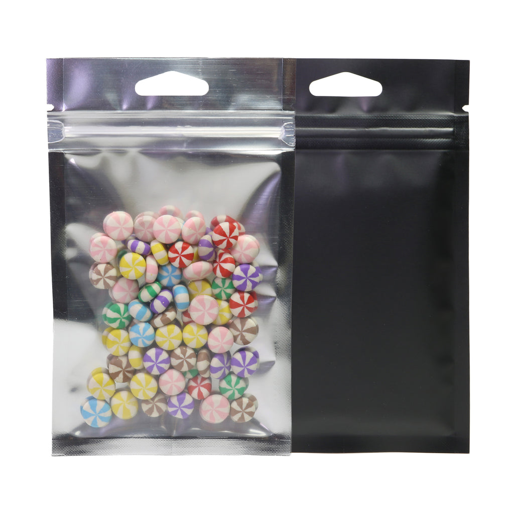 QQ Studio® Transparent Side and Matte Mylar Foil QuickQlick™ Bags with Triangle Hang Hole