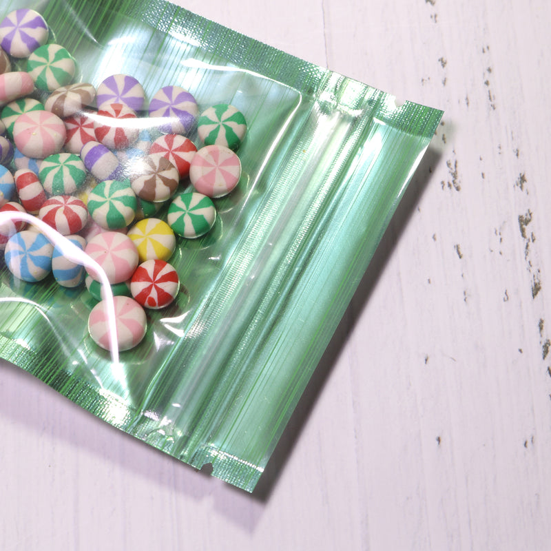 QQ Studio® Half Green Apple Stripe Design Mylar Foil Flat QuickQlick™ Bags