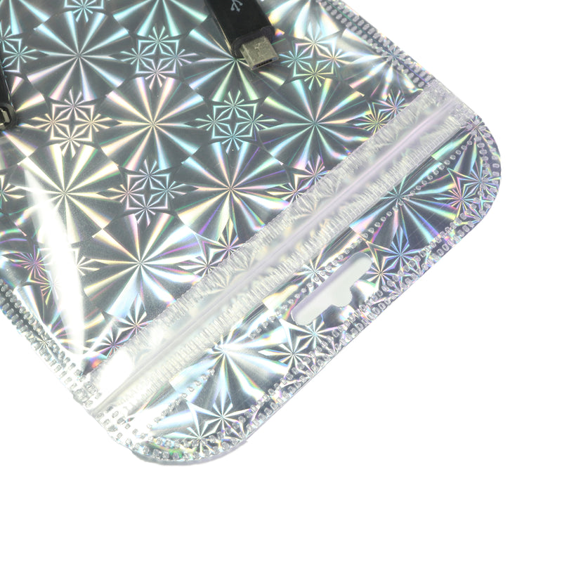QQ Studio® Glossy Psychedelic Silver Holographic Design Mylar QuickQlick™ Bags with Rounded Top and Butterfly Hang Hole