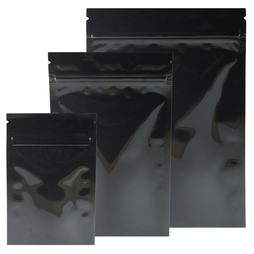 QQ Studio® Mirror Black Open Bottom Mylar Pre-Sealed Top QuickQlick™ Bags