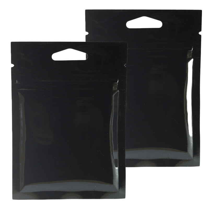 QQ Studio® Glossy Moonlite Night Black Mylar Foil QuickQlick™ Bags with Triangle Hang Hole