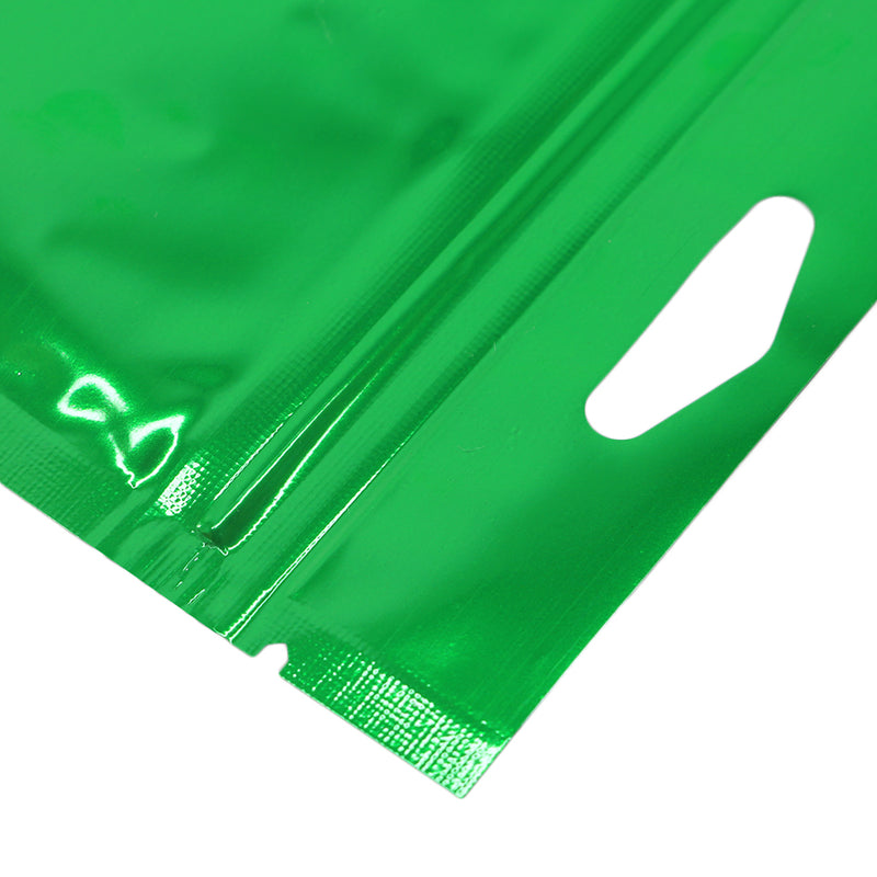 QQ Studio® Glossy Forest Green Mylar Foil QuickQlick™ Bags with Triangle Hang Hole