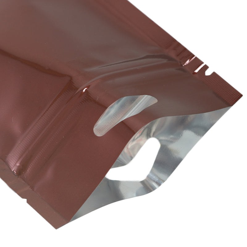 QQ Studio® Glossy Chocolate Brown Mylar Foil QuickQlick™ Bags with Triangle Hang Hole