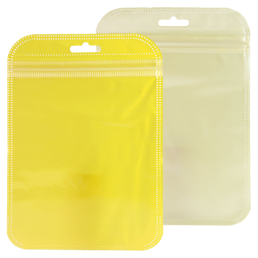 QQ Studio® Glossy Half Bananas Yellow Rounded Corners Plastic QuickQlick™ Bags with Butterfly Hang Hole