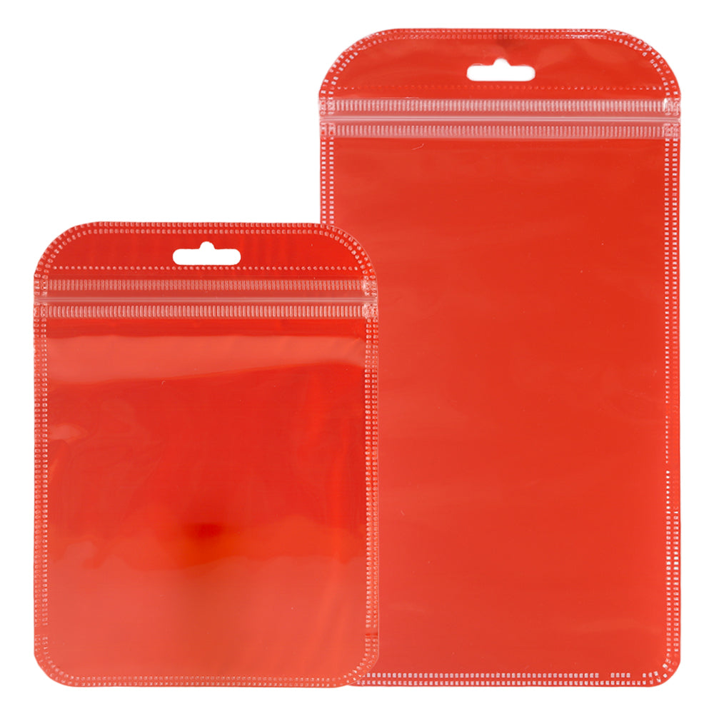 QQ Studio® Glossy Half Tomato Red Rounded Corners Plastic QuickQlick™ Bags with Butterfly Hang Hole