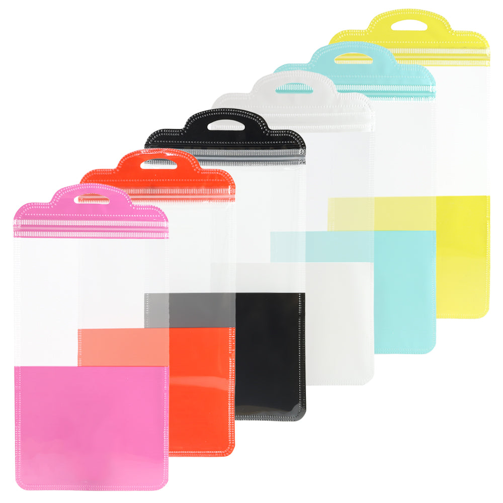 QQ Studio® Glossy Clear Front and Half-Colored Design QuickQlick™ Bags with Semi Circular Hang Hole