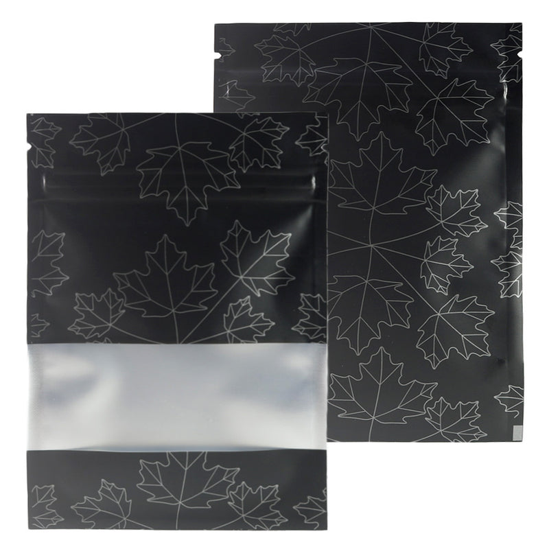 QQ Studio® Matte Frosted Window Maple Leaves Design Aluminum Flat QuickQlick™ Bags
