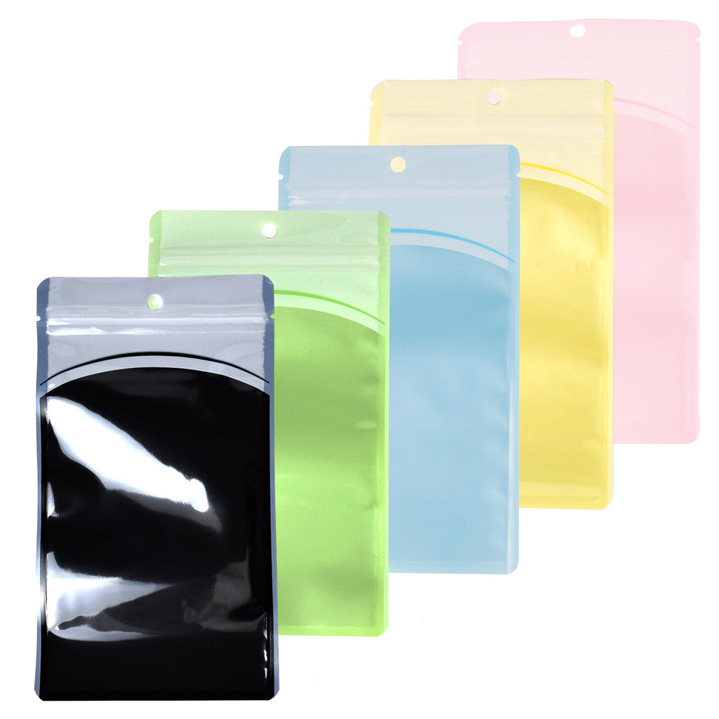 QQ Studio® Glossy Transparent Bordered Window Design Plastic QuickQlick™ Bags with Hang Hole