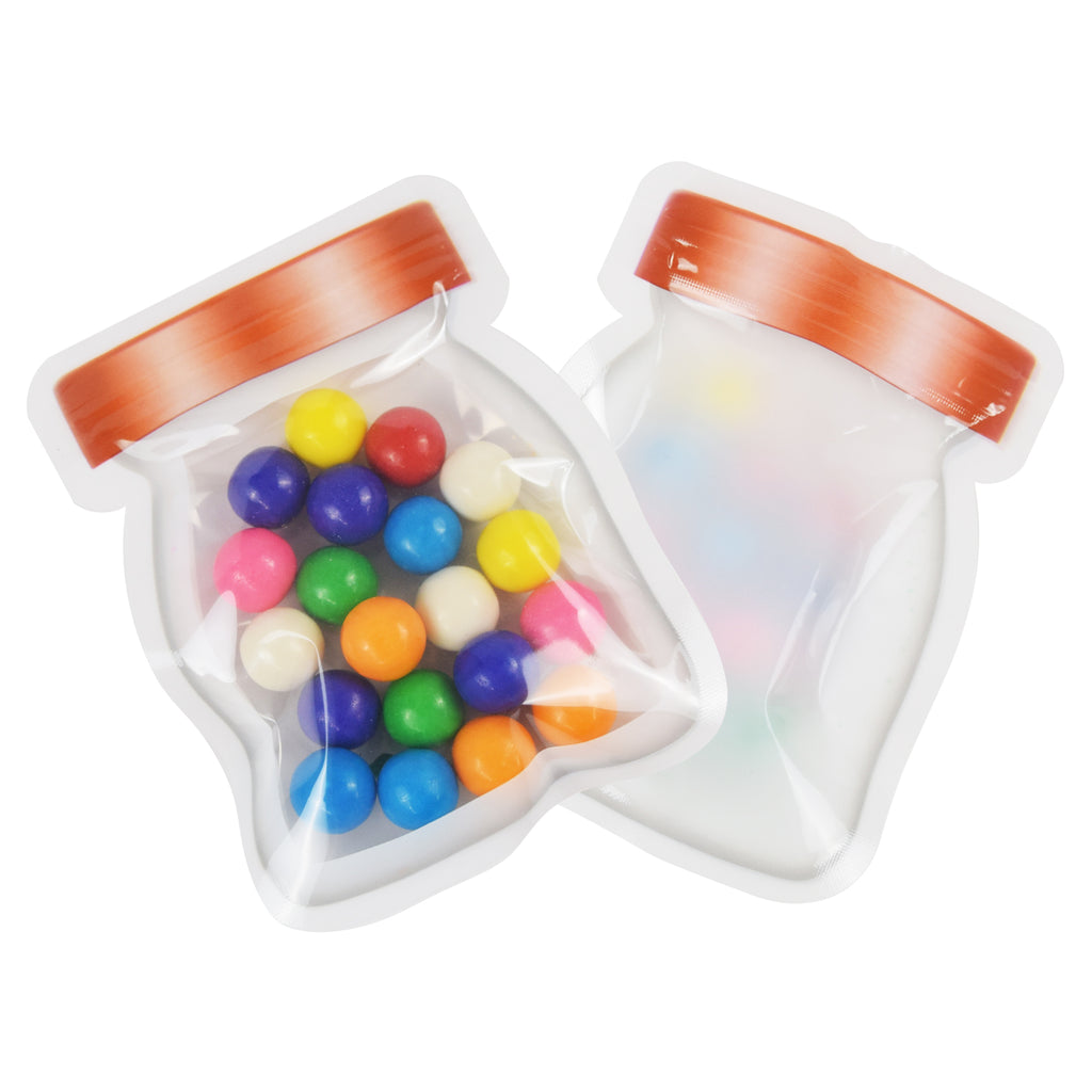 QQ Studio® Copper Lid Color Jar Shaped Design Flat Poly Plastic QuickQlick™ Bags