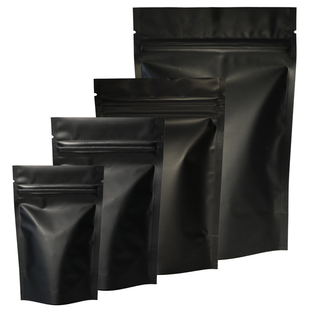 QQ Studio® Matte Waxed Black Mylar Stand Strong™ Bags