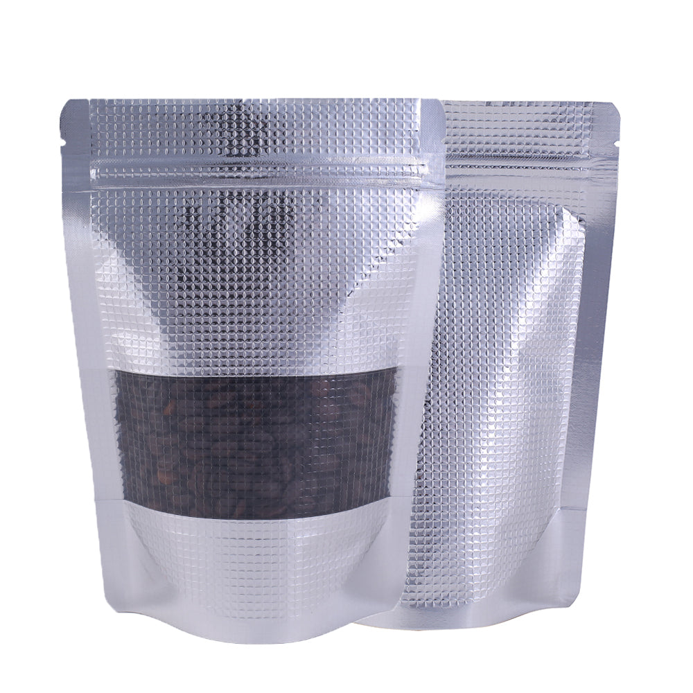 QQ Studio® Chrome Grid Silver Aluminum Waffle Pattern with Translucent Window Stand Strong™ Bags