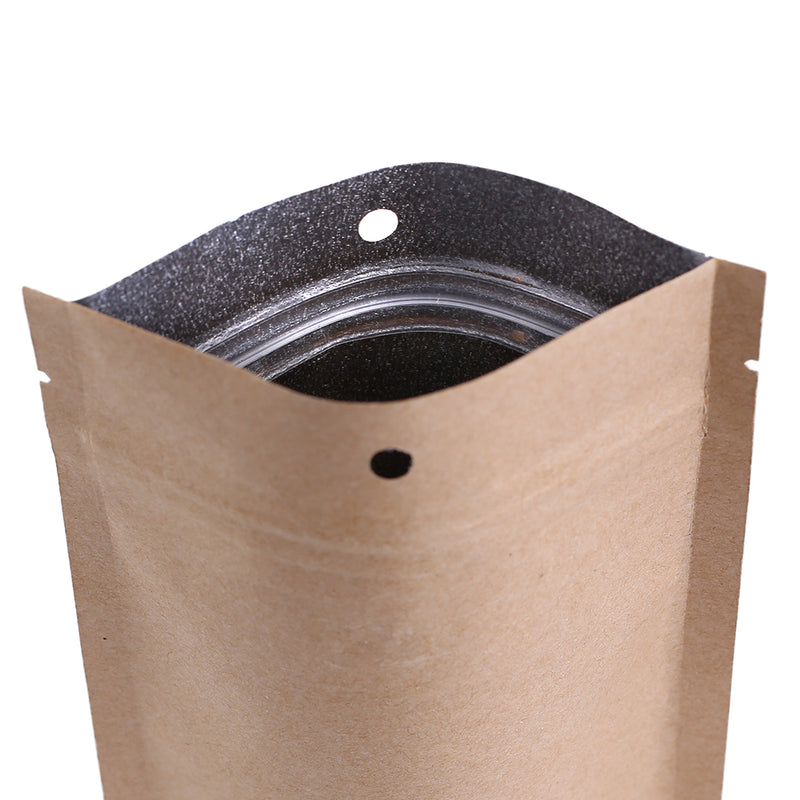 QQ Studio® Krafty Brown with Inner Metallic Foil Stand Strong™ Bags with Hang Hole
