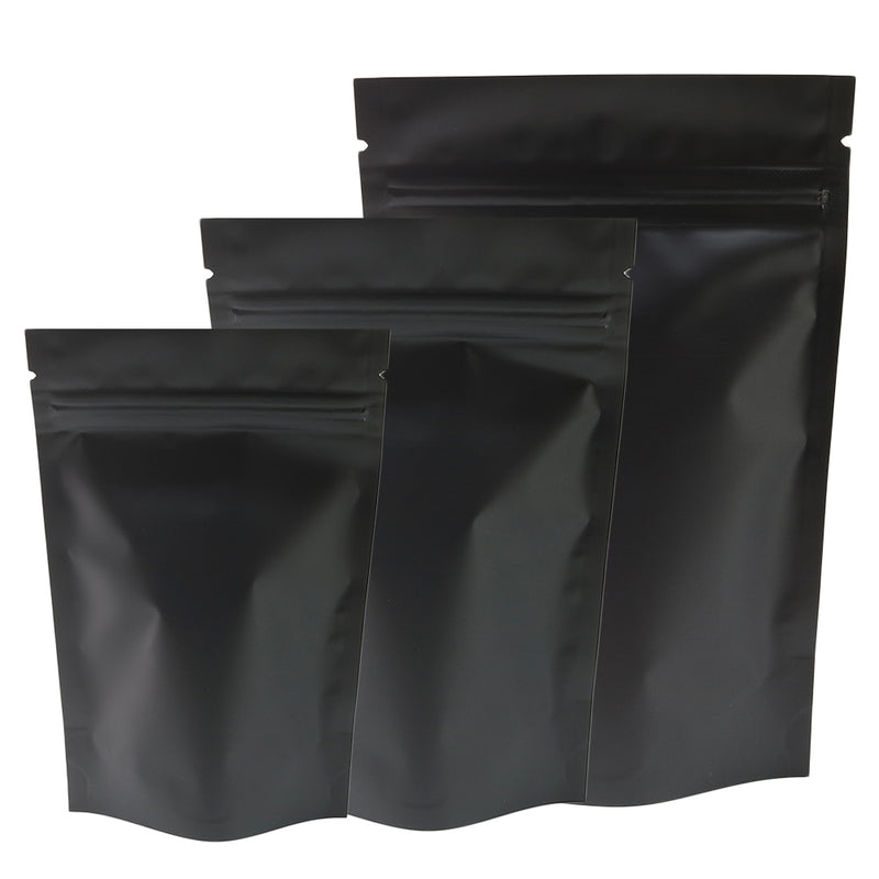 QQ Studio® Half Waxed Black Metallic Mylar Stand Strong™ Bags