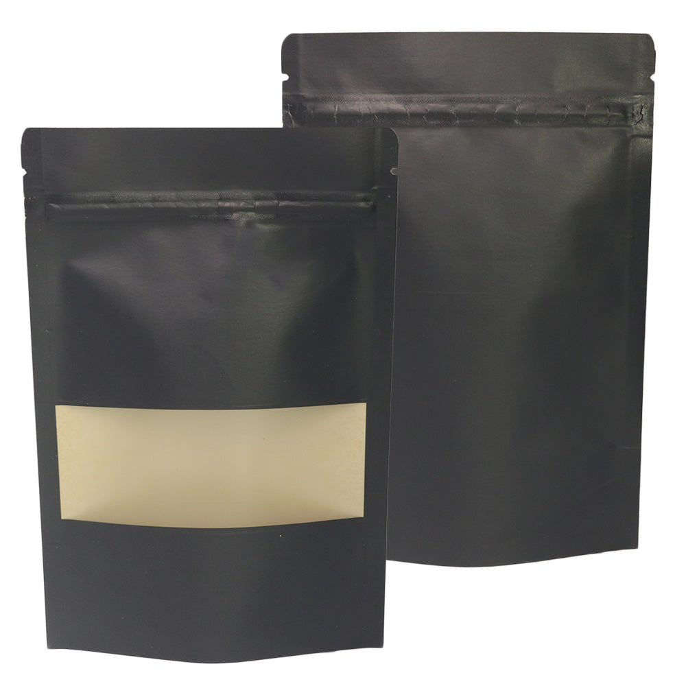 QQ Studio® Rounded Corners Kraft with Window Stand Strong™ Bags