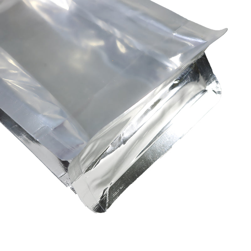 QQ Studio® Clear and Silver Chrome Metallic Foil Side Gusset Stand Strong™ Bags