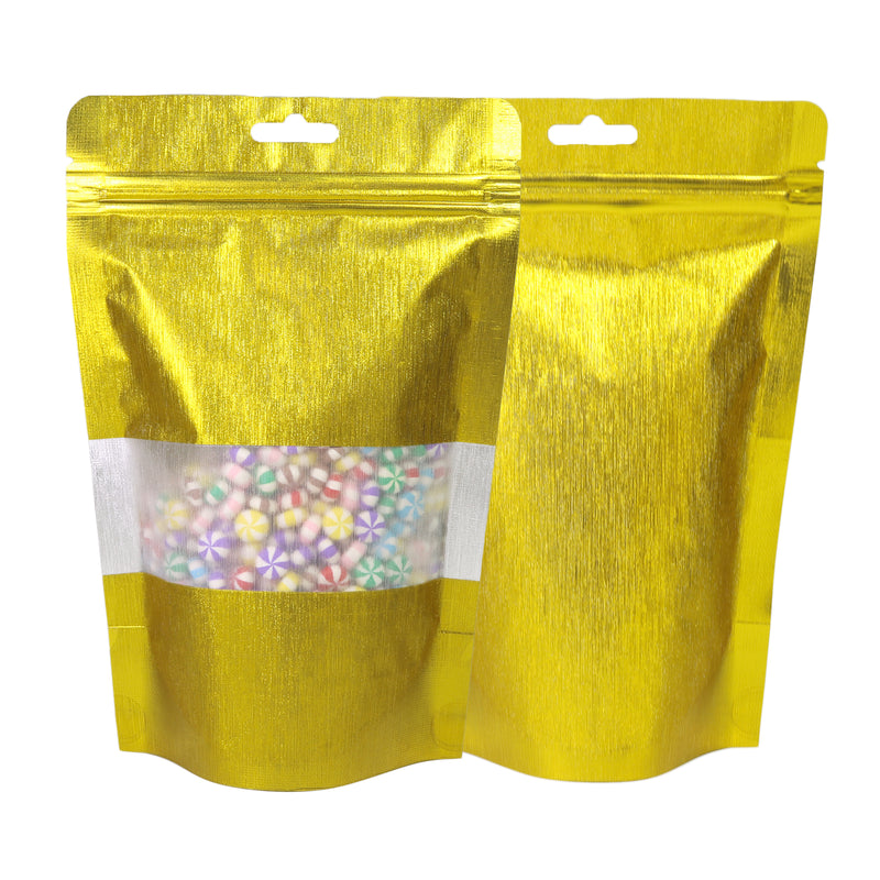 QQ Studio® Shimmery Textured Gold Metallized Foil Stand Strong™ Bags with Hang Hole