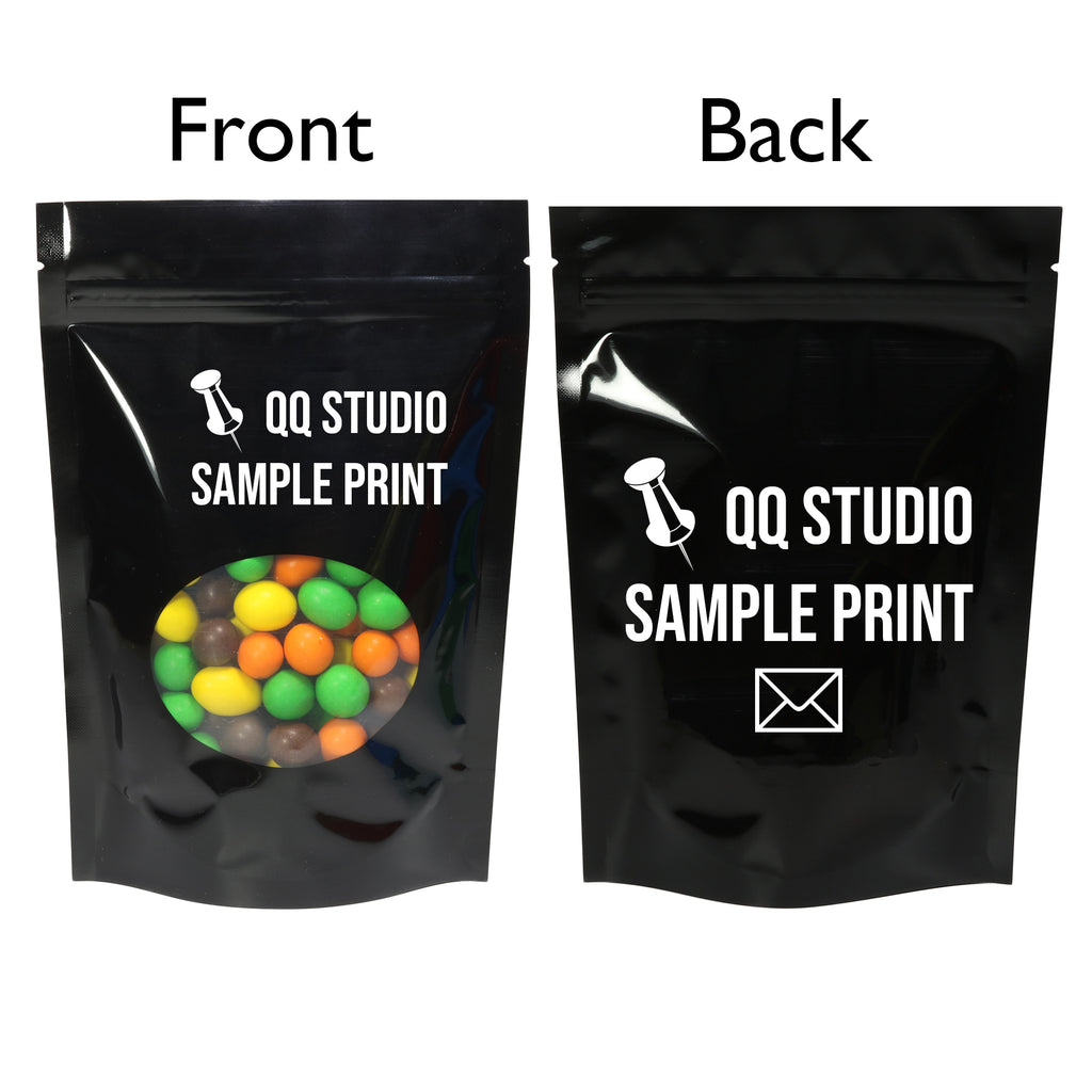 QQ Studio® Glossy Round Window Plastic and Mylar Stand Strong™ Bags (Double Side Print)