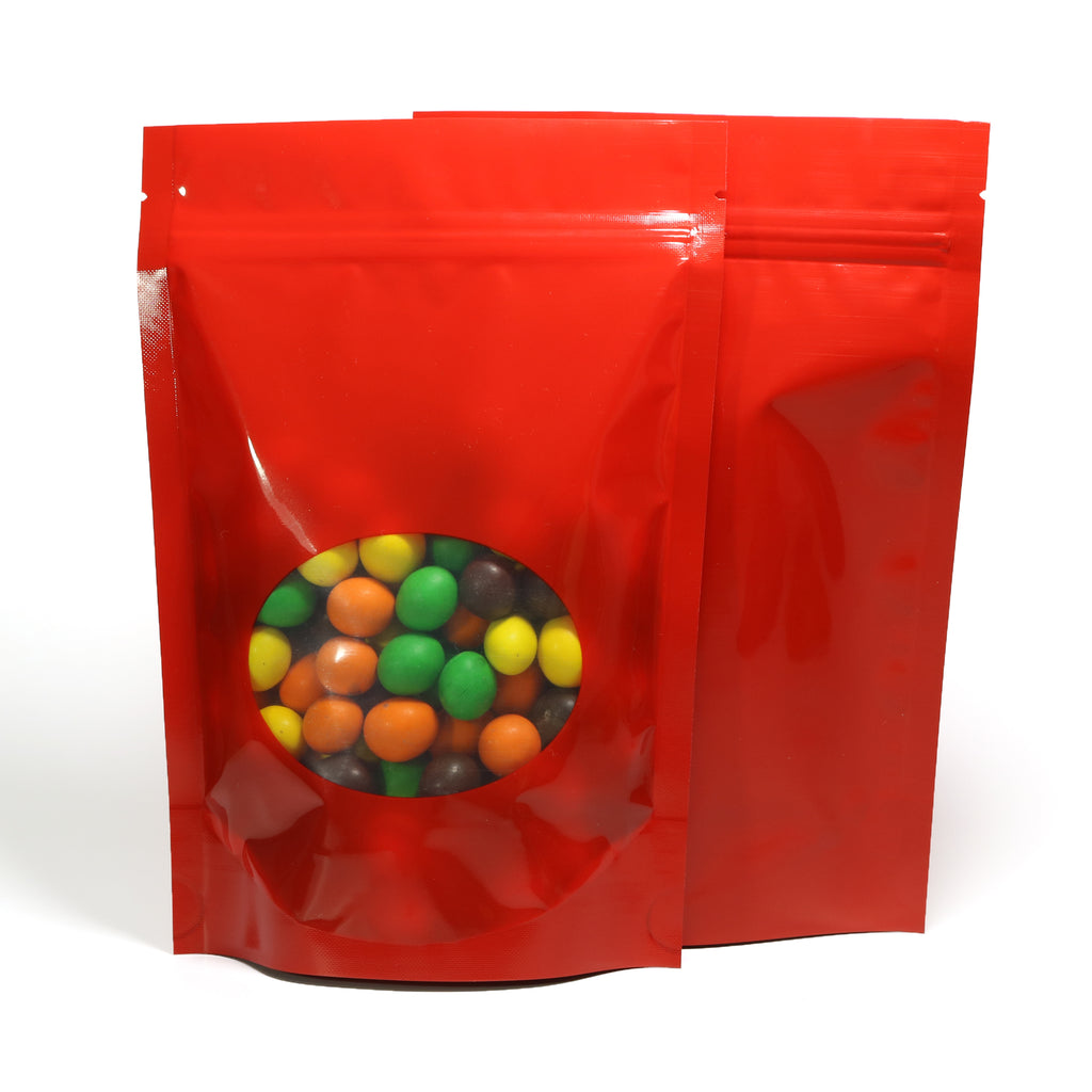 QQ Studio® Glossy Round Window Plastic and Mylar Stand Strong™ Bags